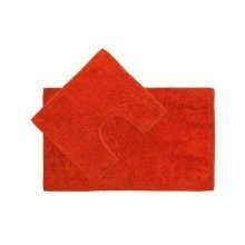 Cotton Bath Mat and Pedestal Set - Orange