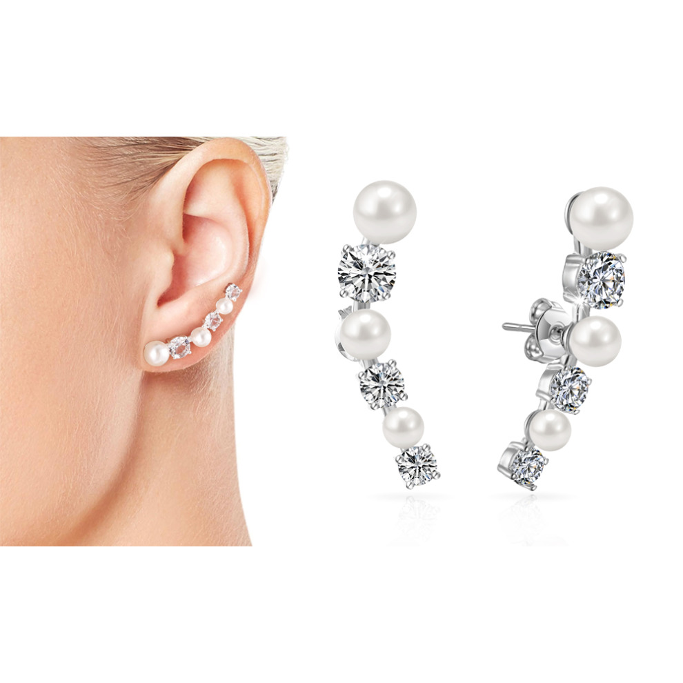 1ca2a0d12011e White Pearl Climber Earrings Created with Swarovski Crystals