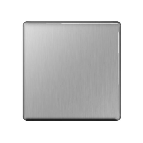 BG Flatplate Screwless 1 Gang Blank-Plate Brushed Steel