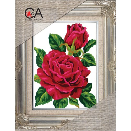 Collection D'art Stamped Needlepoint Kit 14X18cm-Red Rose & Rose Bud