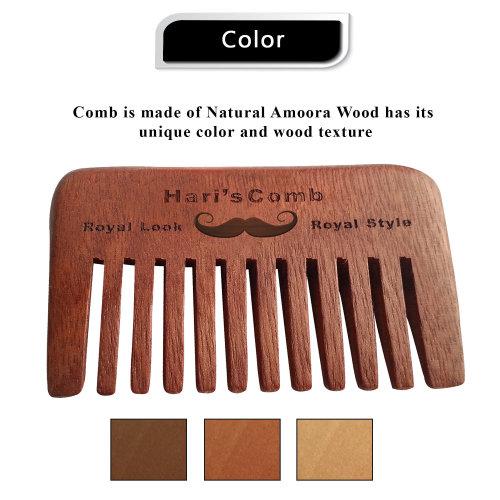 Wide toothed Hari's Hair & Beard pocket Comb natural Amoora wood