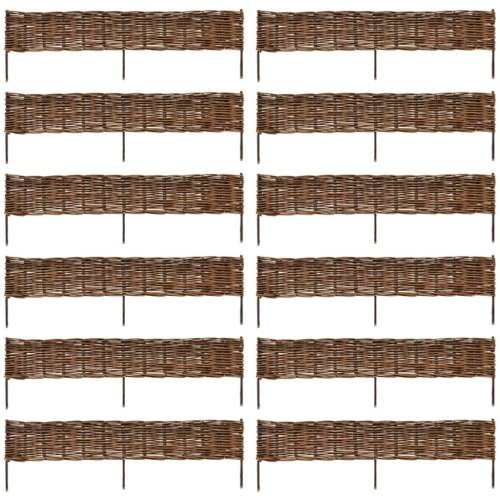 Garden Patio Willow Border Fence with Post Outdoor Fencing 120 x 35 cm 12pcs