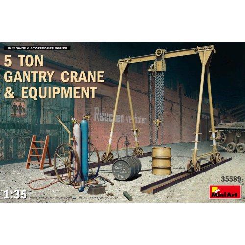 MIN35589 - Miniart 1:35 - 5 Ton Gantry Crane & Equipment