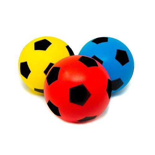 E-Deals 17.5cm Soft Foam Football - Pack of 1 Blue + 1 Red + 1 Yellow
