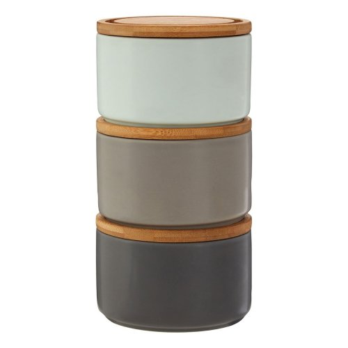 Set of 3 Fenwick Storage Canisters, Stackable, Dolomite