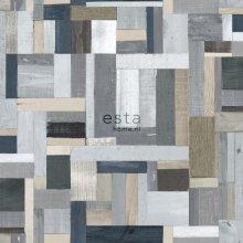 HD non-woven wallpaper scrap wood gray