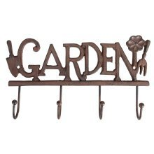Rustic Cast Iron Decorative 'GARDEN' Hooks for Tools Coats etc Gardening Shed Garage