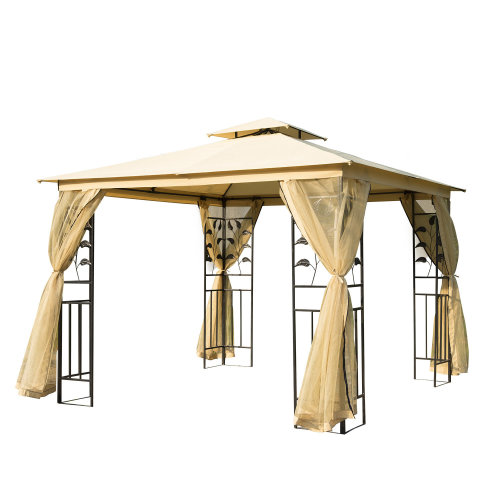 Outsunny 3m x 3m Gazebo Marquee Metal Party Tent Canopy Pavillion Patio Garden Shelter with mesh sidewall