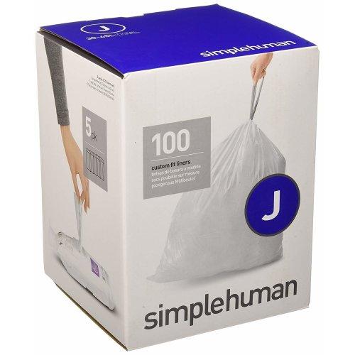 simplehuman - Code J, Custom Fit Bin Liners, 100 Pack - 30-45 Litre
