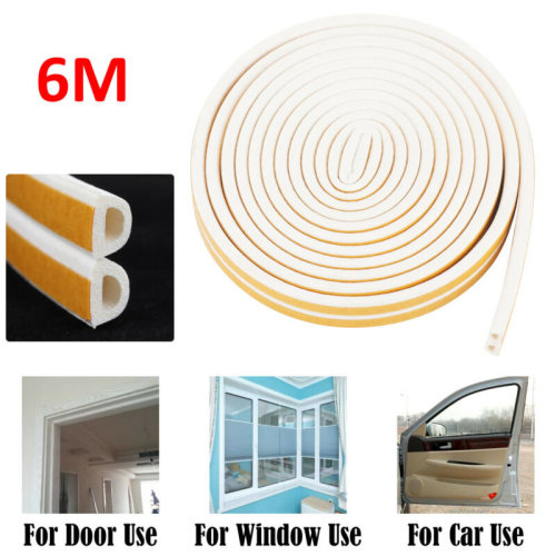 NEW 6M FOAM DRAUGHT EXCLUDER WEATHER SEAL STRIP TAPE INSULATION DOOR WINDOW