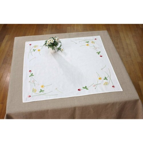 Country Flower Tablecloth Embroidery Kit By DMC Floral 80cm x 80cm