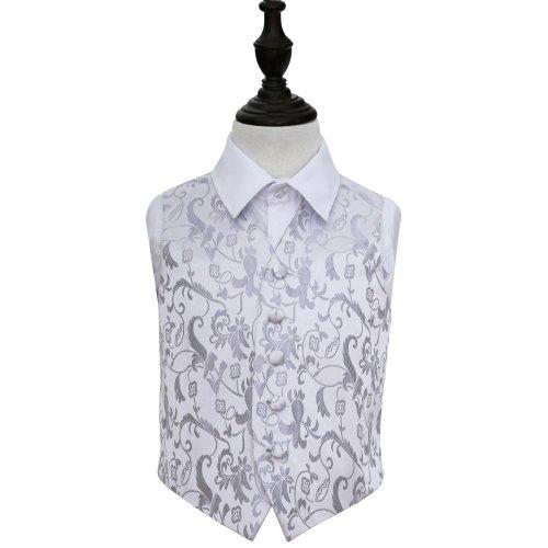 Silver Floral Wedding Waistcoat for Boys 30'
