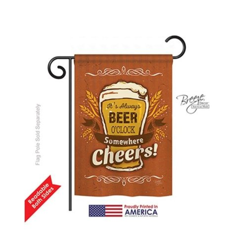 Breeze Decor 67038 Its Always Beer O Clock 2-Sided Impression Garden Flag - 13 x 18.5 in.