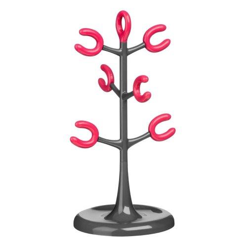6 Cup Mug Tree - Grey/Hot Pink