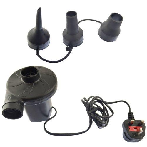 240V Electric Air Pump Inflator Adaptors Valves Camping Bed Mattress Pools BLK007