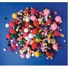 Pbx2470244 - Playbox - Fluffy Poms (various Colours and Sizes) - 525 Pcs