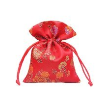Flower Design Candy Pouch Drawstring Bag Cloth Gift Bag 20pcs