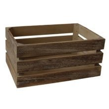 Large Oak Effect Slatted Wooden Storage Crate