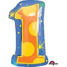 Confetti Dots Number 1 Junior Shape Foil Balloons 12/30cm w x 21/53cm h S60 -