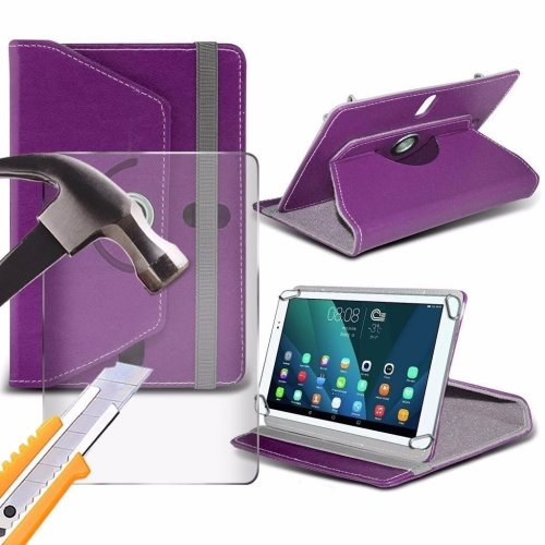 Itronixs - Aaeon Rtc-700a (7 Inch) Tablet Case Premium Pu 360 Rotating Leather Wallet with Tempered Glass Lcd Screen Protector Guard