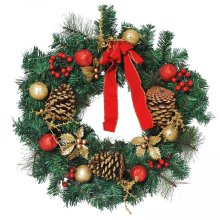 HOMCOM 60cm Pre-Lit Artificial Christmas Door Wreath Holly LED Decor Pine Cones Hanging Glittered Festival Indoor Outdoor Decoration