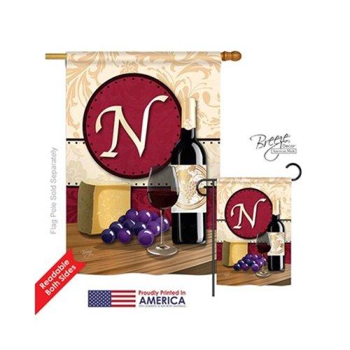 Breeze Decor 30222 Wine N Monogram 2-Sided Vertical Impression House Flag - 28 x 40 in.