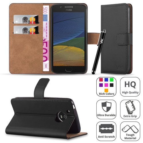 For Moto G5 Plus Premium Leather Wallet Case Cover