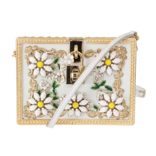 e0f9e0b935 Dolce & Gabbana Gold Daisy Crystal White Leather Bag on OnBuy