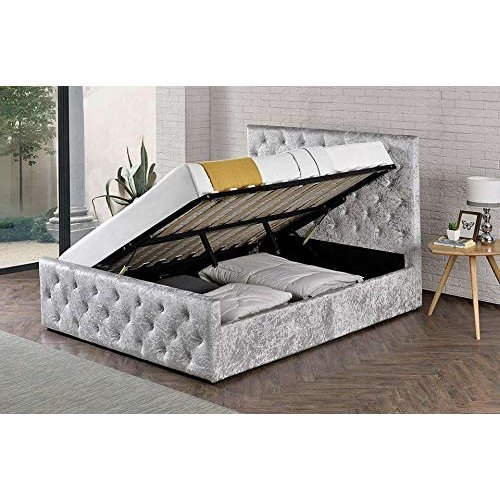 004328927a24 Oxford Crushed Velvet Side Lift Ottoman Storage Bed on OnBuy