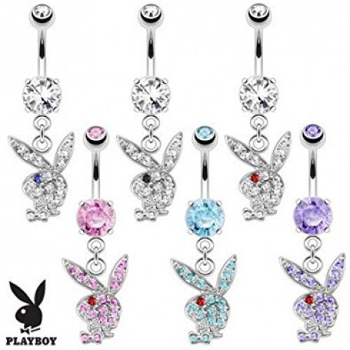 Crystal Encrusted Official Licensed Playboy Dangle Bunny Head Belly Bar