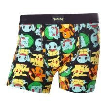 Pokemon Adult Male Pikachu and Friends All-Over Pattern Boxer Short M Size - Black