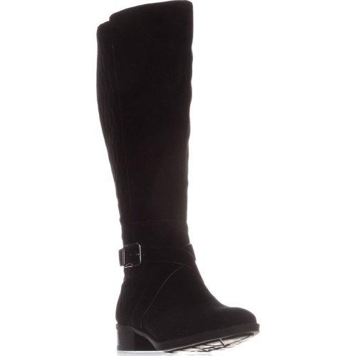 DKNY Mattie Flat Knee-High Boots, Black Suede, 4.5 UK