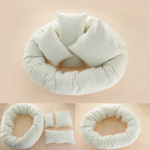 4PCS/Set Newborn Baby Photography Pillow Basket Filler Wheat Donut Posing Props