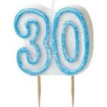 Age 30 Birthday Candle Blue Glitz