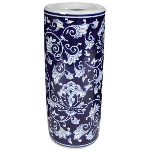 Benzara BM165645 18 x 8 x 8 in. Cylindrical Shaped Umbrella Stand, Blue & White