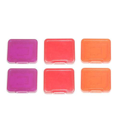 Individual tough plastic cases for SD SDHC SDXC & Micro SD memory cards semi transparent - 6 pack orange red & purple - Assecure