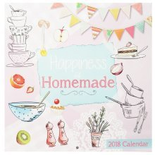 2018 Happiness is Homemade Square Wall Calendar 16 Month Illustrated Food Baking Cooking Drinks Pies Cupcakes Cakes Christmas Birthday Gift Home Office