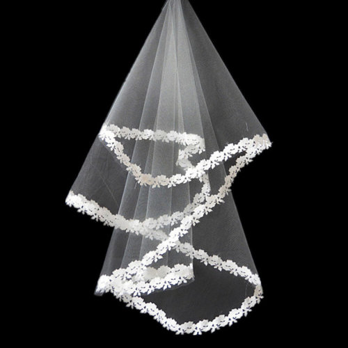 Charming Blessing Single-layer Lace Edge Bridal Wedding Veil, White/1.5M Long