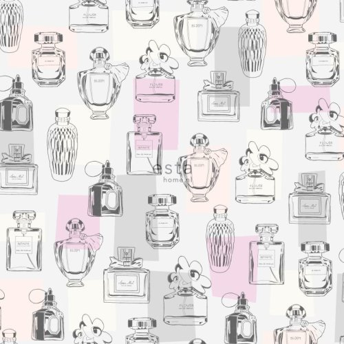 HD non-woven wallpaper perfume bottles lilac purple, light peach pink, grey and white