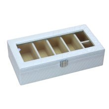 Leather Storage Case Eyeglasses Display Organizer Box– 6 Compartments (White)