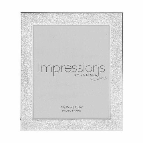 """Sparkly Silver Glitter Impressions Picture Photo Frame 8"""" x 10"""""""