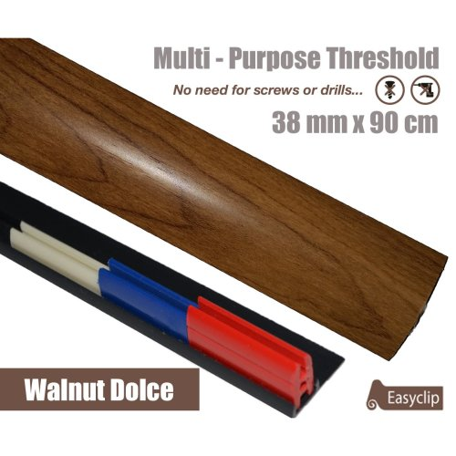 Walnut Dolce Multi Purpose Threshold Strip 90cm Adhesive Clip System