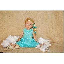 Polka Dots Dress Fits 18 Inches American Girl Dolls (Light Blue)