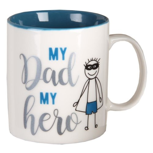 Gift Boxed White Mug with Blue Writing - Fathers Day - My Dad My Hero