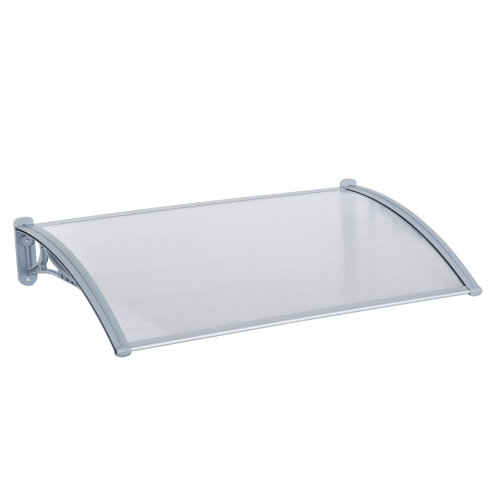 Outsunny Door Awning, Polycarbonate, 140Wx70L cm-Transparent/Silver