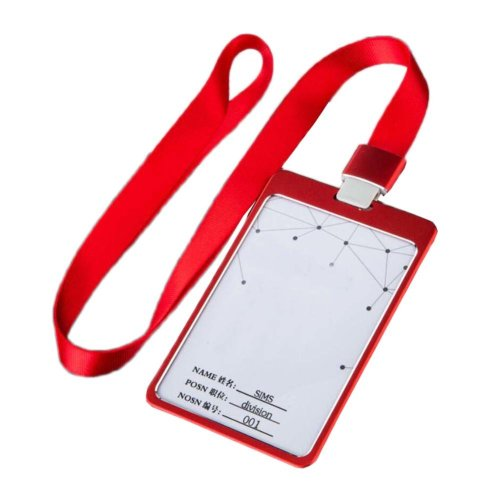 Aluminum Alloy Vertical Style ID Card Badge Holder with Neck Lanyard Strap 3PCS, 15
