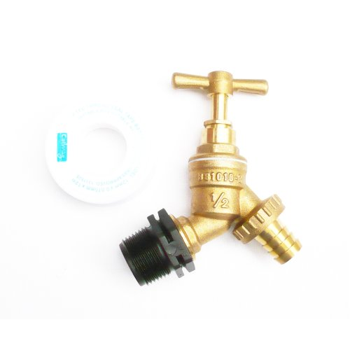 """Brass Water Butt Tap to Polyprop 3/4"""" BSP Male Thead. C/W 1/2"""" Brass Hose Tail"""
