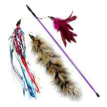 Interactive Educational Toy for Pet--Feathers Cat Toy/Bird Rod Set [No.05]