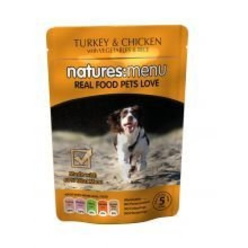 Natures Menu Turkey with Chicken Dog Pouches, 8 x 300g