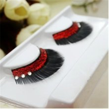 1 Pair Red Sequins Crystal Thick False Eyelashes Individual Charm Stage Beauty Long Lashes